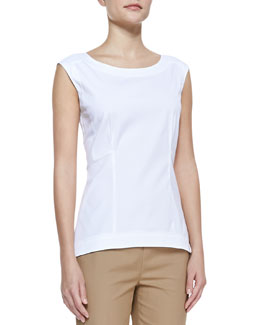 Lafayette 148 New York Bateau-Neck Peplum Top, White