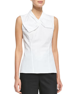 Lafayette 148 New York Bow-Detail Sleeveless Top