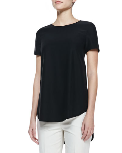Lafayette 148 New York Silk Short-Sleeve High-Low Top