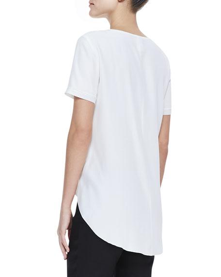 Matte Silk Short-Sleeve Top