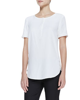Lafayette 148 New York Matte Silk Short-Sleeve Top