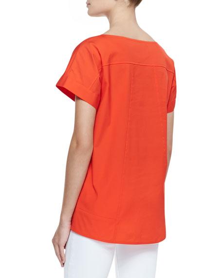Deryn Cotton Short-Sleeve Top, Begonia