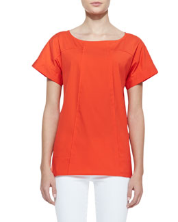 Lafayette 148 New York Deryn Cotton Short-Sleeve Top, Begonia