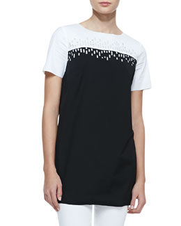 Lafayette 148 New York Excursion Laser-Cutout Short-Sleeve Top