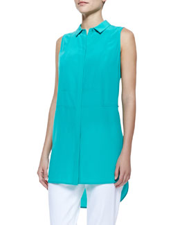 Lafayette 148 New York Silk Button Sleeveless Blouse
