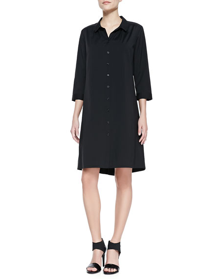 Stretch-Cotton Button-Down Shirtdress