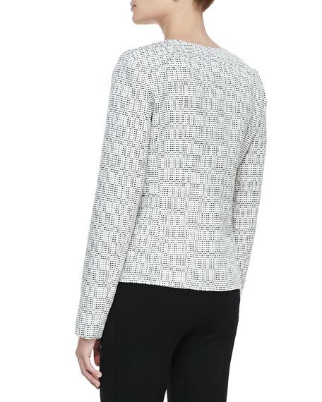Ondria Print-Tweed Zip-Front Jacket