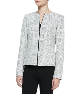 Lafayette 148 New York Ondria Print-Tweed Zip-Front Jacket