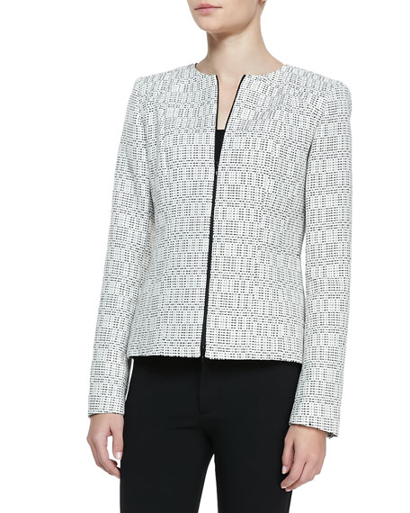 Ondria Print-Tweed Zip-Front Jacket