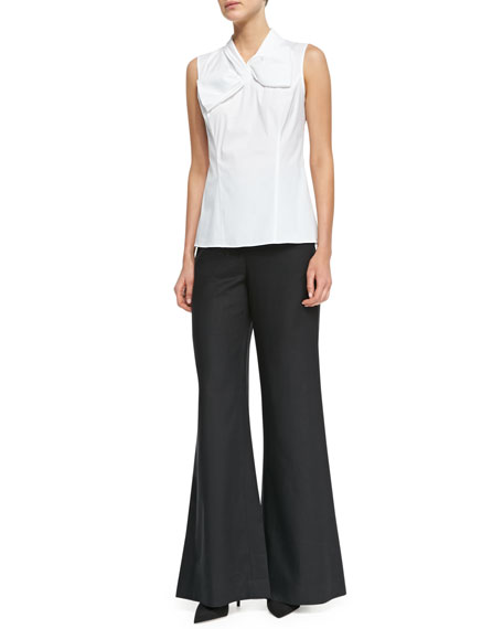 Lavish Linen Wide-Leg Bell-Bottom Pants