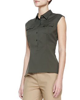 Lafayette 148 New York Cotton Sleeveless Camp Shirt