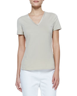 Lafayette 148 New York Short-Sleeve V-Neck Tee