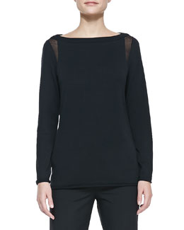 Lafayette 148 New York Sheer-Detail Long-Sleeve Sweater