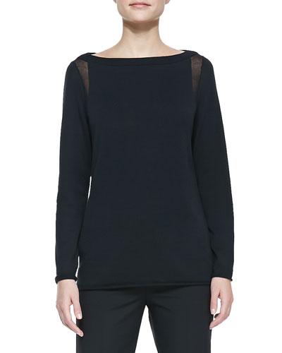 Lafayette 148 New York Sheer-Detail Long-Sleeve Sweater