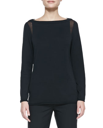 Sheer-Detail Long-Sleeve Sweater