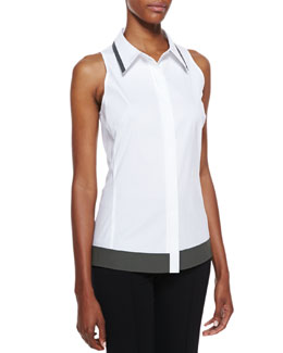 Lafayette 148 New York Lenni Sleeveless Two-Tone Blouse