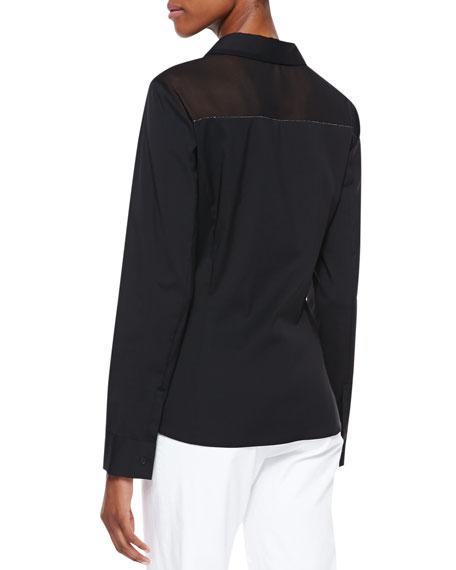 Long-Sleeve Poplin Blouse, Black