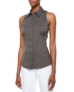 Lafayette 148 New York Charelle Sleeveless Blouse, Cremini