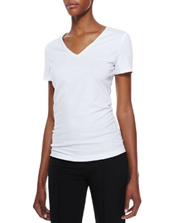 Lafayette 148 New York Short-Sleeve V-Neck Tee, White