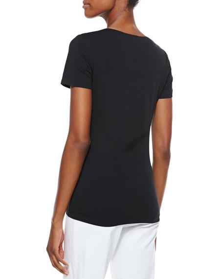 Short-Sleeve V-Neck Tee, Black