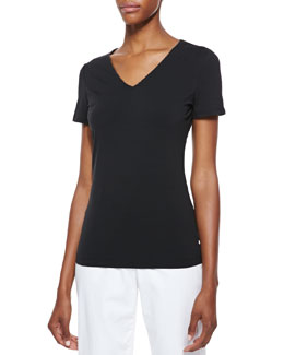 Lafayette 148 New York Short-Sleeve V-Neck Tee, Black
