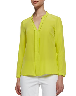 Lafayette 148 New York Silk Crepe de Chine Blouse, Parakeet