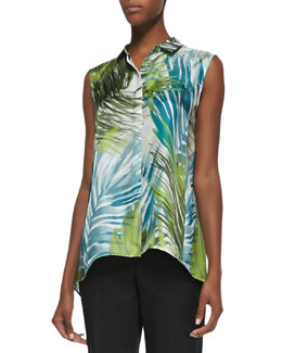 Lafayette 148 New York Palm Impressions Sleeveless Printed Blouse