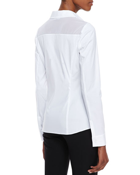 Long-Sleeve Poplin Blouse, White