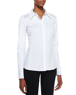 Lafayette 148 New York Long-Sleeve Poplin Blouse, White