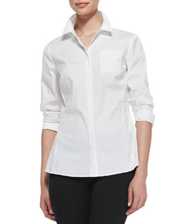 Lafayette 148 New York Rowley Long-Sleeve Blouse, White