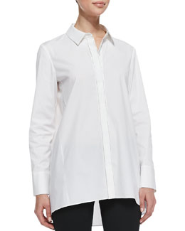 Lafayette 148 New York Drew Long High-Low Top, White