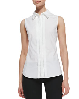 Lafayette 148 New York Charelle Sleeveless Blouse, White