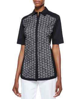 Lafayette 148 New York Merrie Short-Sleeve Blouse
