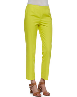 Lafayette 148 New York Metro Stretch Bleecker Cropped Pants, Parakeet
