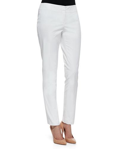 Lafayette 148 New York Downtown Straight-Leg Pants, White