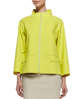 Lafayette 148 New York Metro Zip-Front Topper Jacket, Parakeet