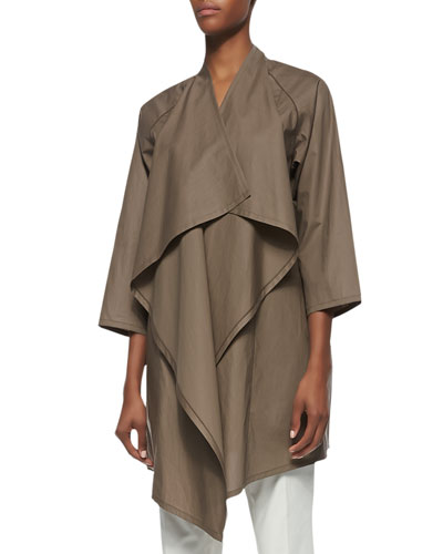 Lafayette 148 New York Poplin Oversized Shawl-Collar Long Topper, Nugget