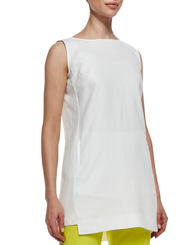 Lafayette 148 New York Sleeveless Linen Long Top with Pockets