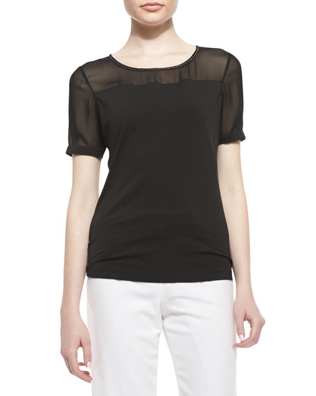 Short-Sleeve Jersey & Georgette Tee