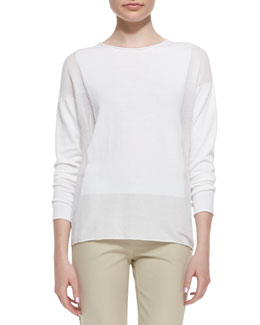 Lafayette 148 New York Long-Sleeve Sweater with Sheer Panels