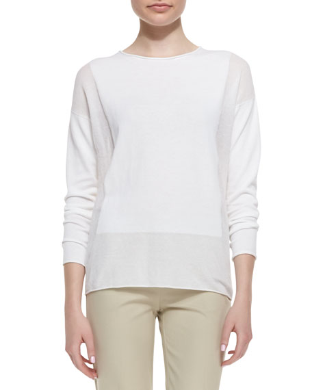 Long-Sleeve Sweater with Sheer Panels