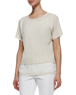 Lafayette 148 New York Raffia Short-Sleeve Layered Sweater