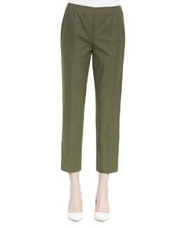 Lafayette 148 New York Metro Stretch Bleecker Cropped Pants, Kale