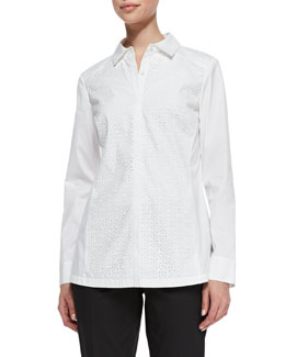 Lafayette 148 New York Katen Laser-Cut Blouse, White