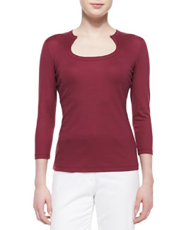 Lafayette 148 New York Horseshoe-Neck Jersey Top, Pomegranate