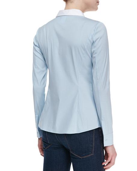Rula Long-Sleeve Blouse, Ice Blue