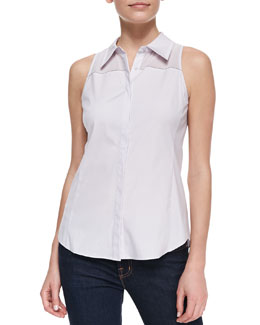 Lafayette 148 New York Alania Sleeveless Sheer-Yoke Blouse, Steam