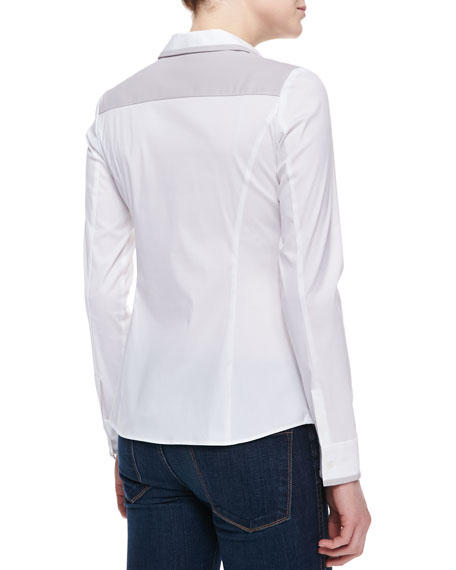 Karlyn Long-Sleeve Blouse, White-Dove
