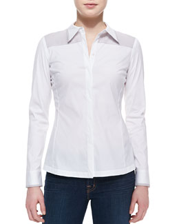 Lafayette 148 New York Karlyn Long-Sleeve Blouse, White-Dove