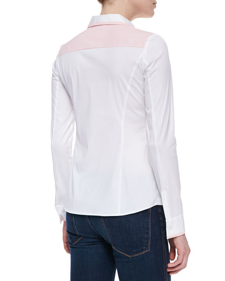 Karlyn Long-Sleeve Blouse, White-Blush